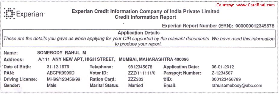 Explaining A Sample Experian Credit Information Report In India