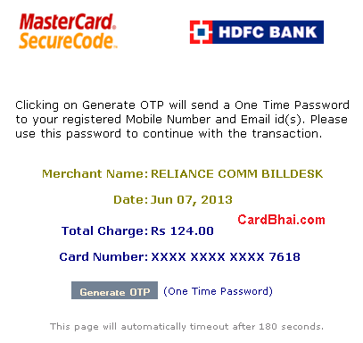 HDFC Credit Cards OTP 2