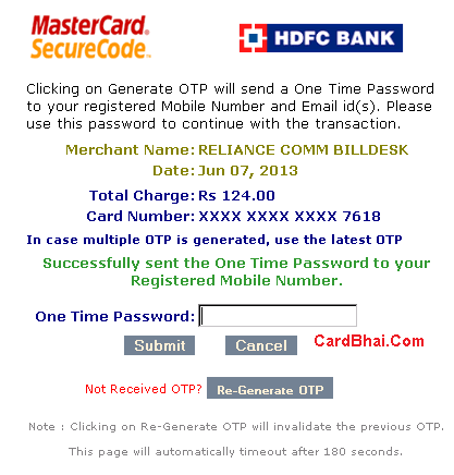 HDFC Cards OTP 3