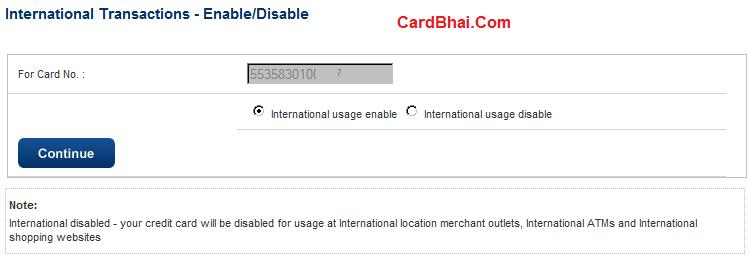 HDFC Card International Enable Disable