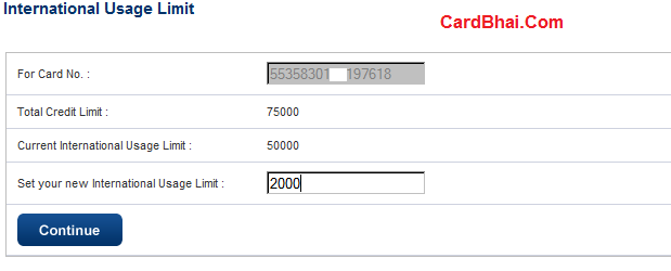 HDFC International Card Limit -1